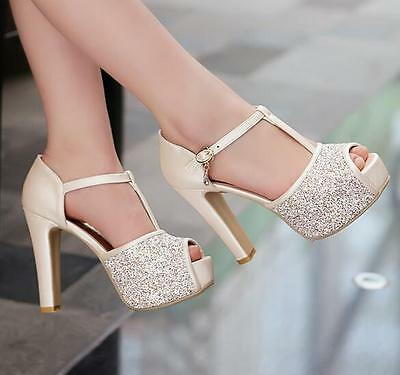 womens lady summer Sequin Peep Toe Platform Block High Heels Wedding Party Shoes