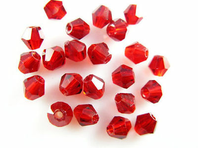 30pcs 8mm Red Charms Faceted Bicone 5328# Crystal Glass Loose Beads Findings
