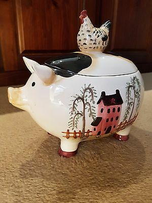 Ceramic Cookie Jar Pig/farm Theme