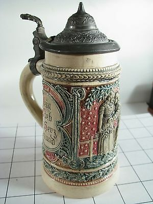 Antique Lovers German Pottery 1/4L Lidded Beer Stein