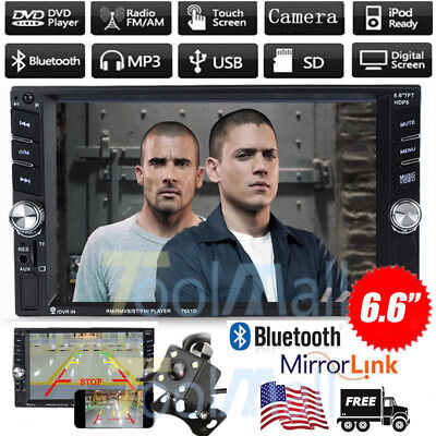 """Double 2Din 6.5"""" In Dash Stereo Car DVD CD Player Bluetooth Radio iPod SD/USB TV"""