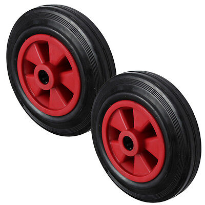 2x 160MM Black Rubber Tyre with Red Plastic Centre Sack Truck Wheel
