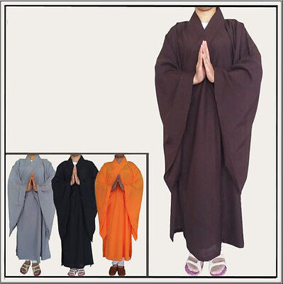 6387 Buddhist Monk Shaolin Dress Meditation Haiqing Robe Kung Fu Suit Long Gown