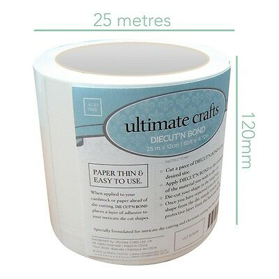 NEW Ultimate Crafts™ Diecut n' Bond 12cm Wide STRONG Adhesive Tape Roll 25m