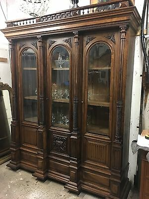 Antique French 3 Door Glazed Bookcase Walnut Breakfront