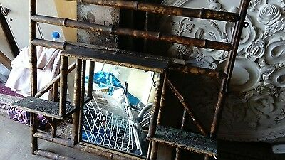 Victorian bamboo wall overmantle mirror whatnot
