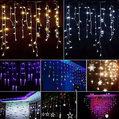 LED String Fairy Lights Icicle Hanging Snowing Curtain Christmas Indoor/Outdoor