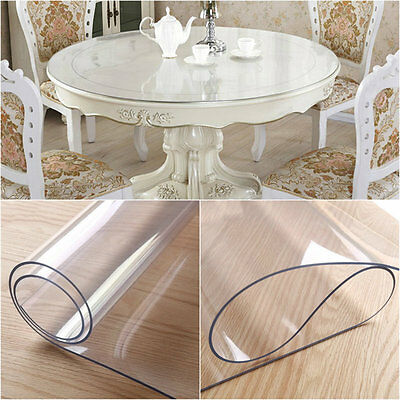 TRANSPARENT WIPE CLEAN PVC VINYL TABLECLOTH DINING KITCHEN TABLE COVER Round