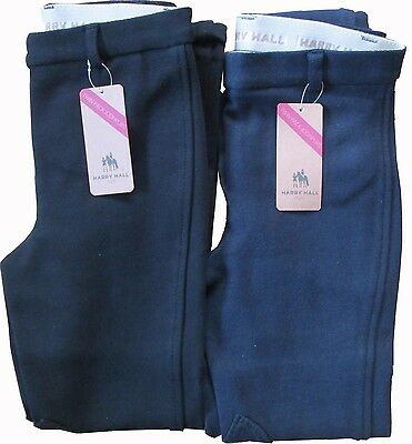 BNWT Harry Hall twin pack Childrens Kids Pull On navy/black Jodhpurs 22'' 24''