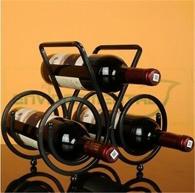 Metal Wine Rack 3 Bottle Holder Modern Table Homeware Stand Carrier Retro