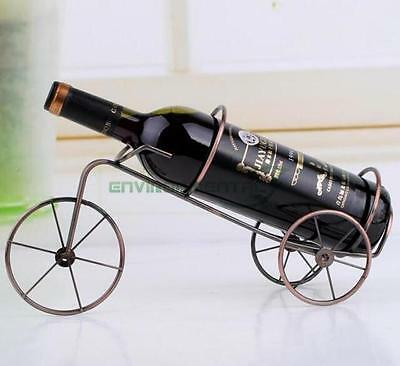 Retro  Simple Metal Art Wine Rack Bottle Holder Stand Carrier Basket Table Decor