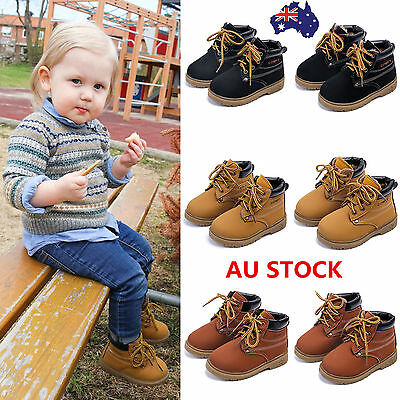 AU Winter Warm Kids Boys Girls Toddler PU Leather Martin Snow Boots Lined Shoes