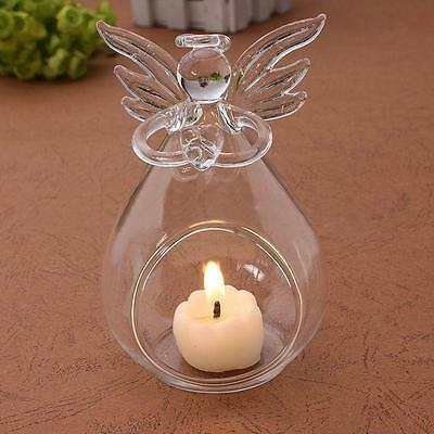 Hot Lead Crystal Christmas Angel Clear Glass Candle Holder/Candlestick/s