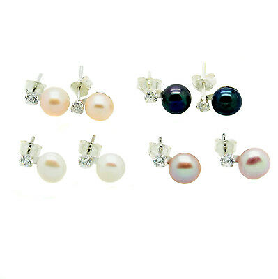 Pearl Earrings and Faux Diamond Stud Sterling Silver Cultured Freshwater Pearls