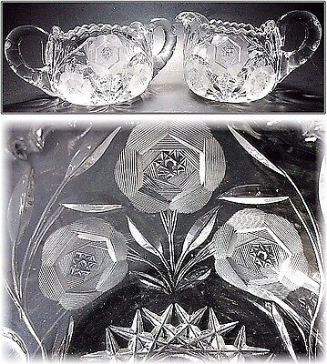 Vtg ABP American Brilliant Star David Rose Wheel Cut Hobstar Glass Creamer Sugar