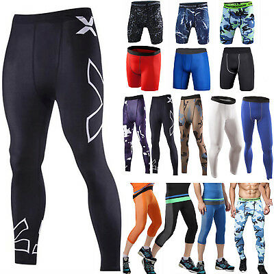 Mens Sports Gym Compression Under Base Layer Shorts / Long Pants Athletic Skin