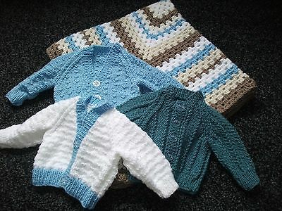 Hand Knitted Bundle of Cardigans and Pram Blanket for Newborn Baby Boy