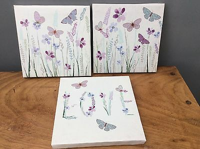"""NEW Set of 3 White, Purple """"Love"""" Butterfly Butterflies Canvas Wall Art Pictures"""