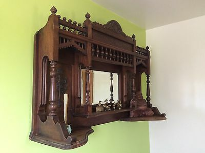 Antique Wooden Wall Mirror / Cabinet