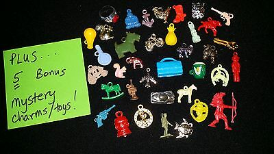 37 + Bonus Cracker Jack /Gumball Machine Charms Prizes LOT Assortment, 1960s/70s