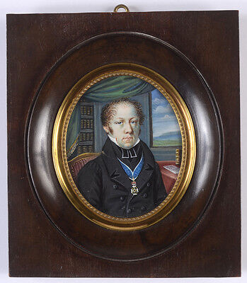 """Portrait of a clergyman"", high quality French miniature!!, early 19th century"