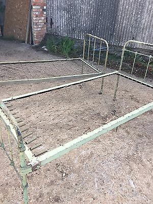 2 Original Vintage Iron Bed Fames -- Antique --One Is Possibly Military