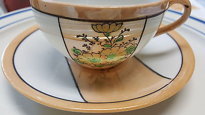 3 Sets of Vintage Lustreware Japan Cups and Saucers Light Gold & Floral on White