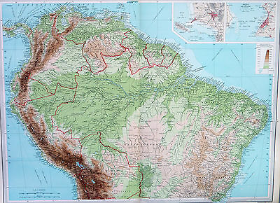 Map of South America Northern Section Large 1922 Original Antique