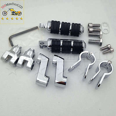 """Chrome Footrest Foot Pegs with 1"""" (25mm) Clamps For Yamaha V-STAR Roadstar xv170"""