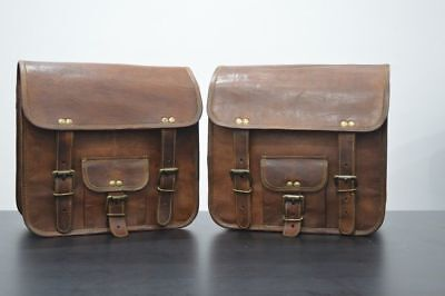 2 Side Bags Pouch Brown Leather Motorcycle Side Pouch Saddlebags Saddle Panniers