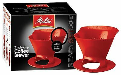 3 Pack of Melitta Ready Set Joe Single Cup Coffee Brewer Red with Filters
