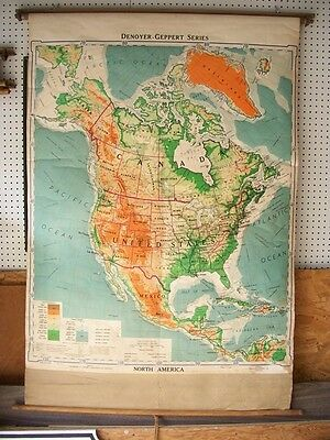 Vintage Pull Down School Map North America Denoyer Geppert 1952