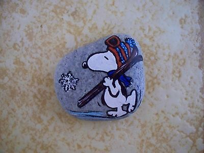 Vintage 1978 Peanuts Hand-painted Rock with Snoopy and Skis, Paperweight, VGC
