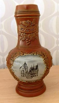 Original King  1L Jug Pitcher Handmade Hand Painted Alsfeld West Germany 9.75""