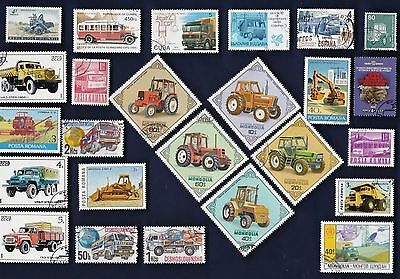25 TRUCKS, BUSSES, TRACTORS, ETC on Stamps