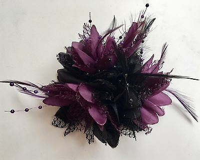 Black and Dark Purple Fascinator on Clip Pin Feathers Laces Beads
