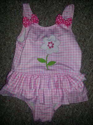PENNY M Pink Checked Skirted One Piece Bathing Suit Girls Size 24 months
