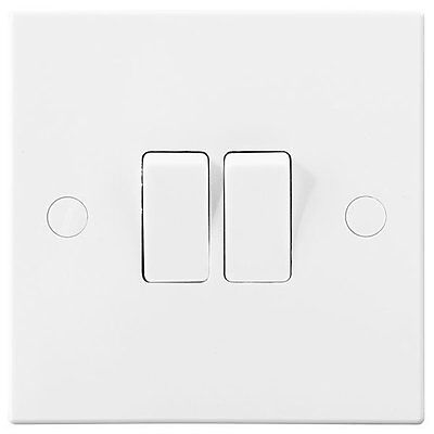 Moulded White 10A 10AX Plate Switch 2 gang 2 way - BG Electrical