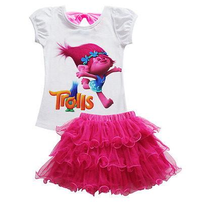 UK Trolls Poppy Girls Dress Cosplay Gown Kids Clothing Children Fancy Tutu Dress