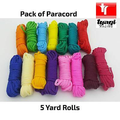 Paracord multi-pack 15 Colors 5 Meter Metre Rolls Multi-Colored Assorted Mixed