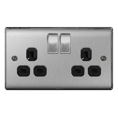 Nexus Metal Brushed Steel 13A Twin Socket 2 gang Switched - BG Electrical