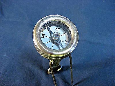 Antique Marble Arms Compass Brass  1920's Pin-on Long Stem Tang ==Coat/ Lapel