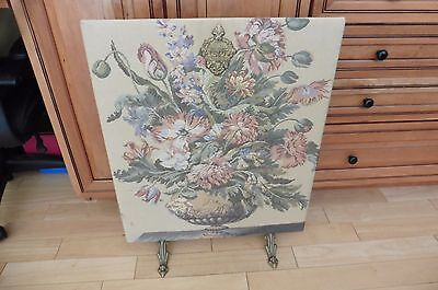 Vintage Corona Decor Large Floral Bowl Tapestry stand Brass Footed & escutcheon