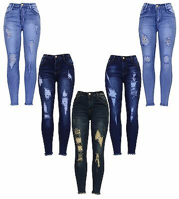New Womens High Waist Blue Distressed Ankle Frayed Ripped Skinny Fit Denim Jean