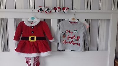 Baby Girl Christmas Clothes Bundle 0-3 months dress, excellent condition, new