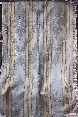 Faded Ice Blue & Yellow French Antique Silk Emberline Frame Fabric c1920
