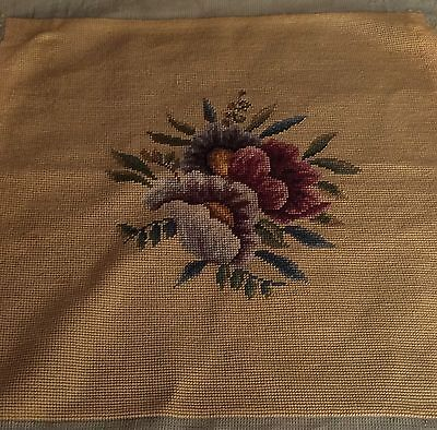 Antique Chair Cover Completed Large Wool Needlepoint Tapestry Floral