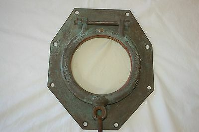 "Vintage Brass/Bronze Porthole Window Maritime 12"" x 10"" 8 Pounds!!!"