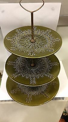 Irish Retro studio pottery 3 tier cake stand ideal tea party's cake shop etc