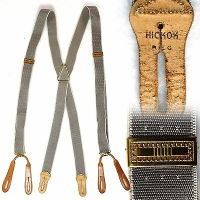Vintage 1940s Hickock suspenders braces gray with brown leather tabs